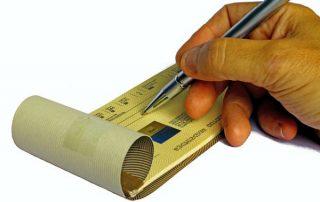 checkbook, writing, man's hand