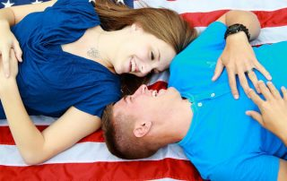 couples, American Flag