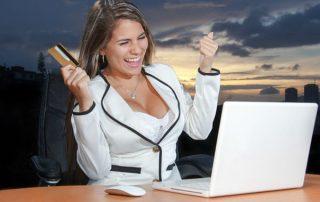 computer, credit, woman happy