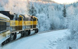 train, travel, winter