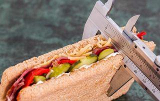 sandwich, tape measure, weight loss