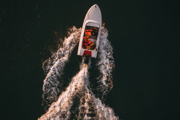boat, waves,